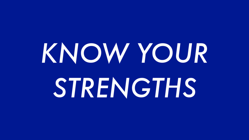 KNOW YOUR STRENGTHS