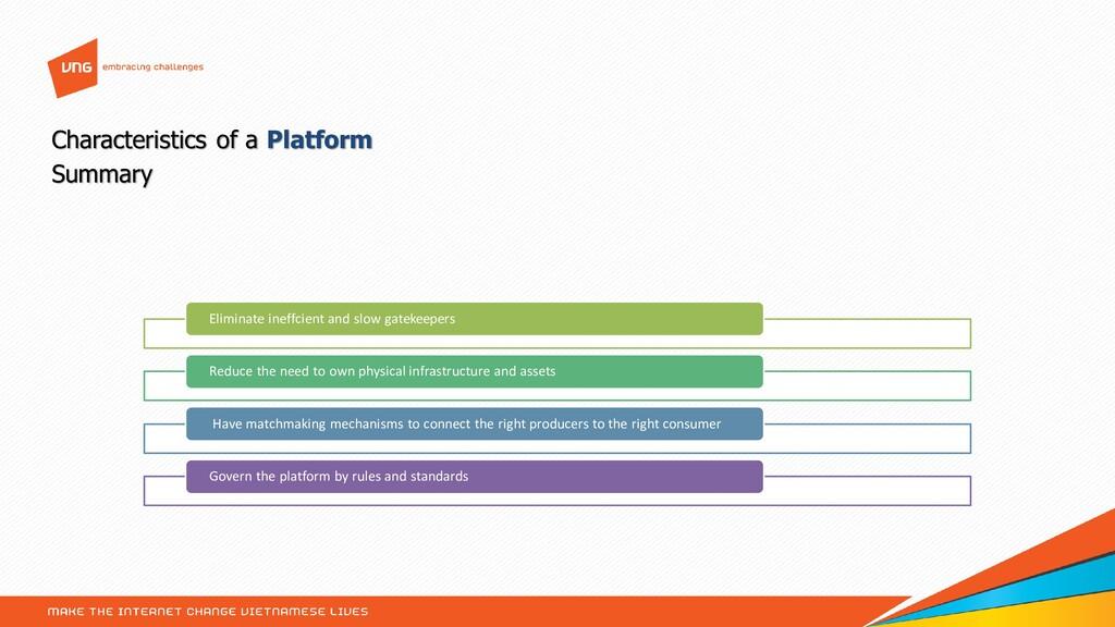 Characteristics of a Platform Summary Eliminate...