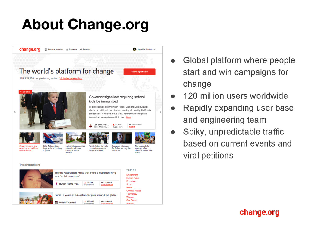 About Change.org ● Global platform where people...