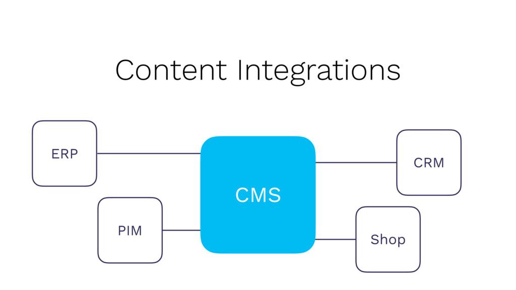 Content Integrations CRM PIM Shop ERP CMS