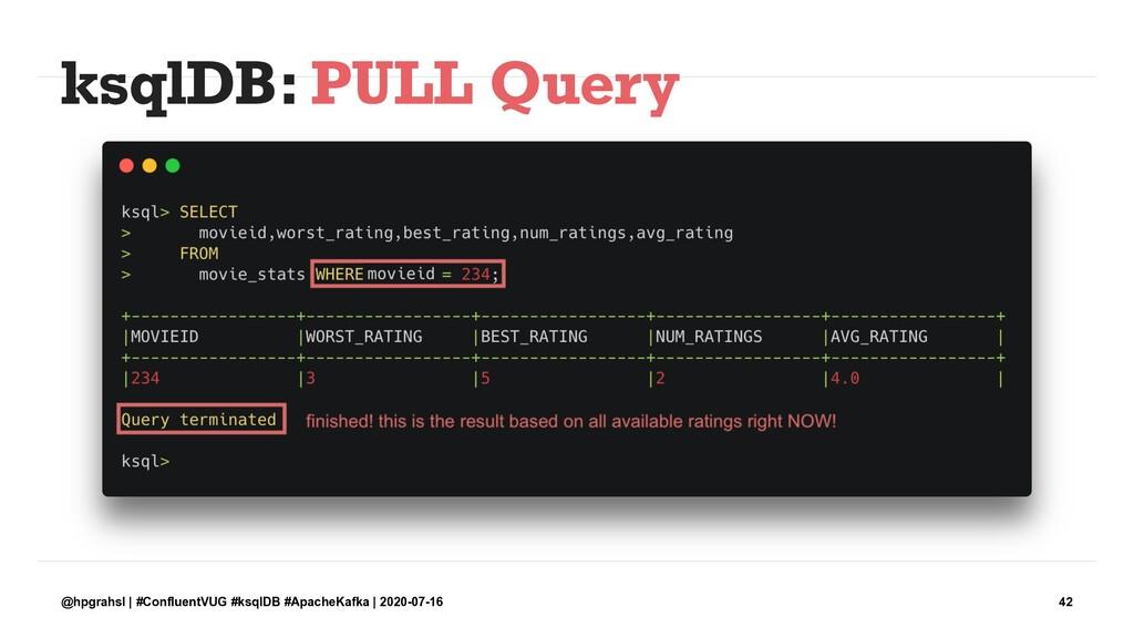 ksqlDB: PULL Query @hpgrahsl | #ConfluentVUG #k...