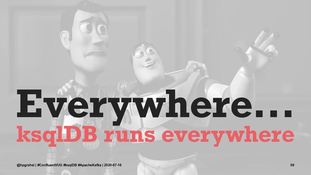 Everywhere... ksqlDB runs everywhere @hpgrahsl ...