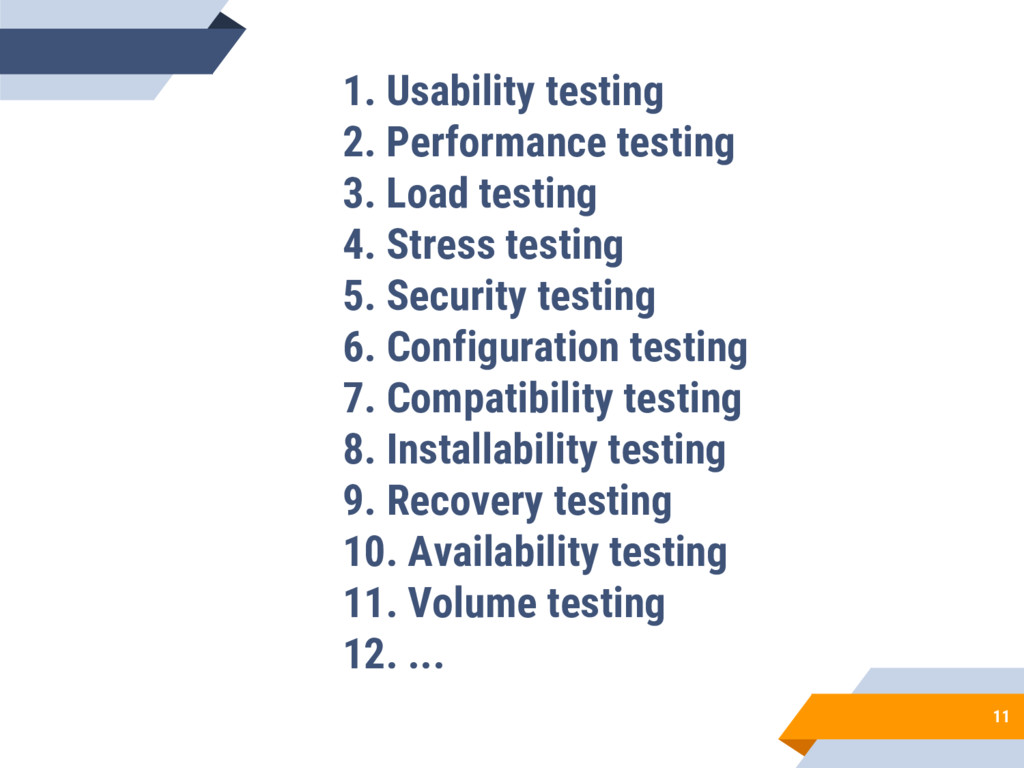 11 1. Usability testing 2. Performance testing ...