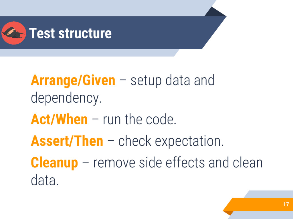 Test structure Arrange/Given – setup data and d...