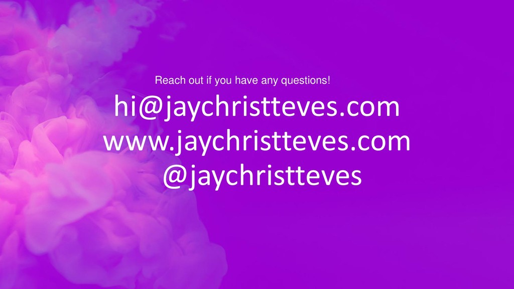 hi@jaychristteves.com www.jaychristteves.com @j...