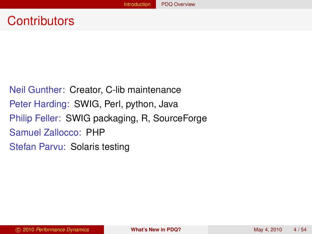 Introduction PDQ Overview Contributors Neil Gun...