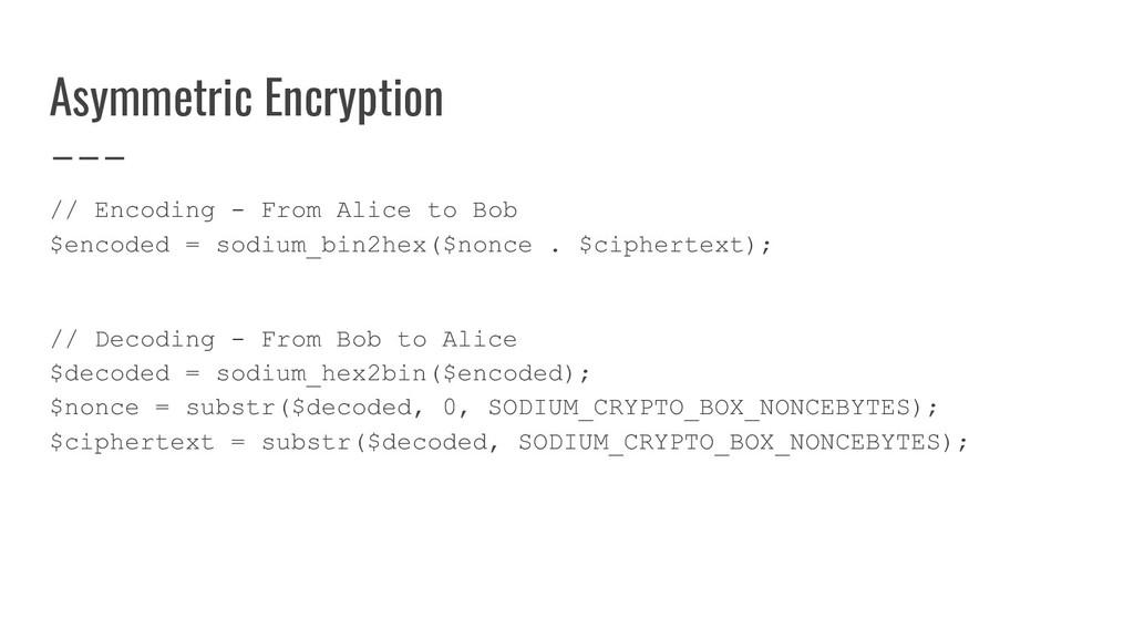 Asymmetric Encryption // Encoding - From Alice ...