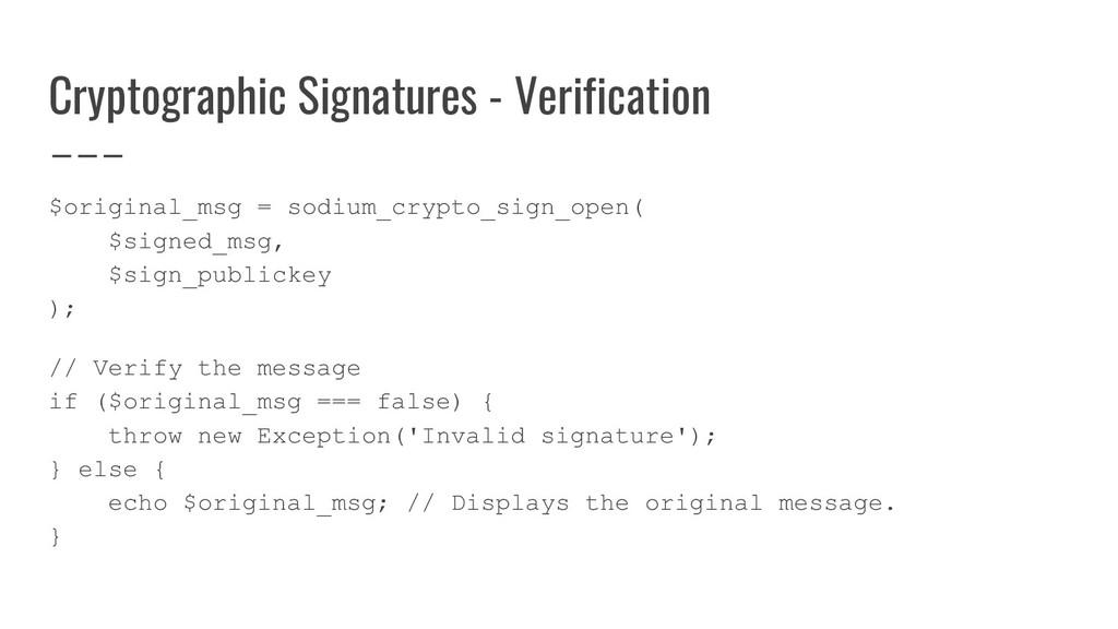 Cryptographic Signatures - Verification $origin...