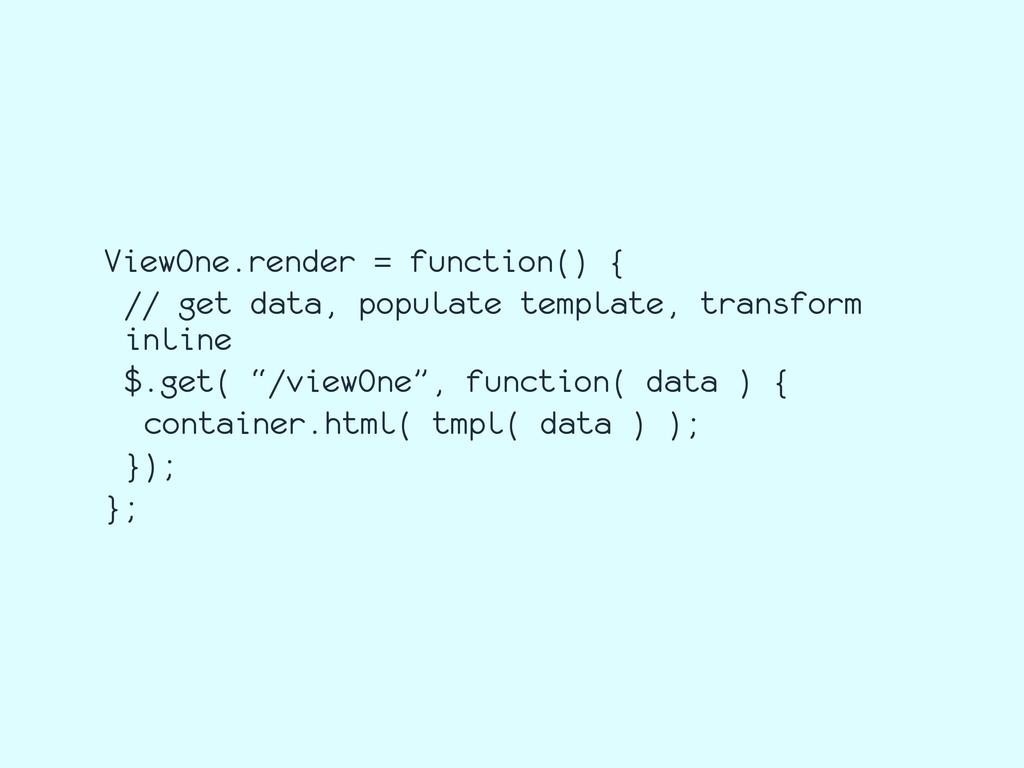 ViewOne.render = function() { // get data, popu...