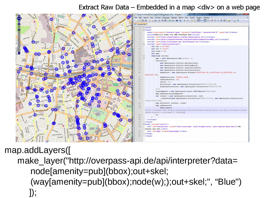 Extract Raw Data – Embedded in a map <div> on a...