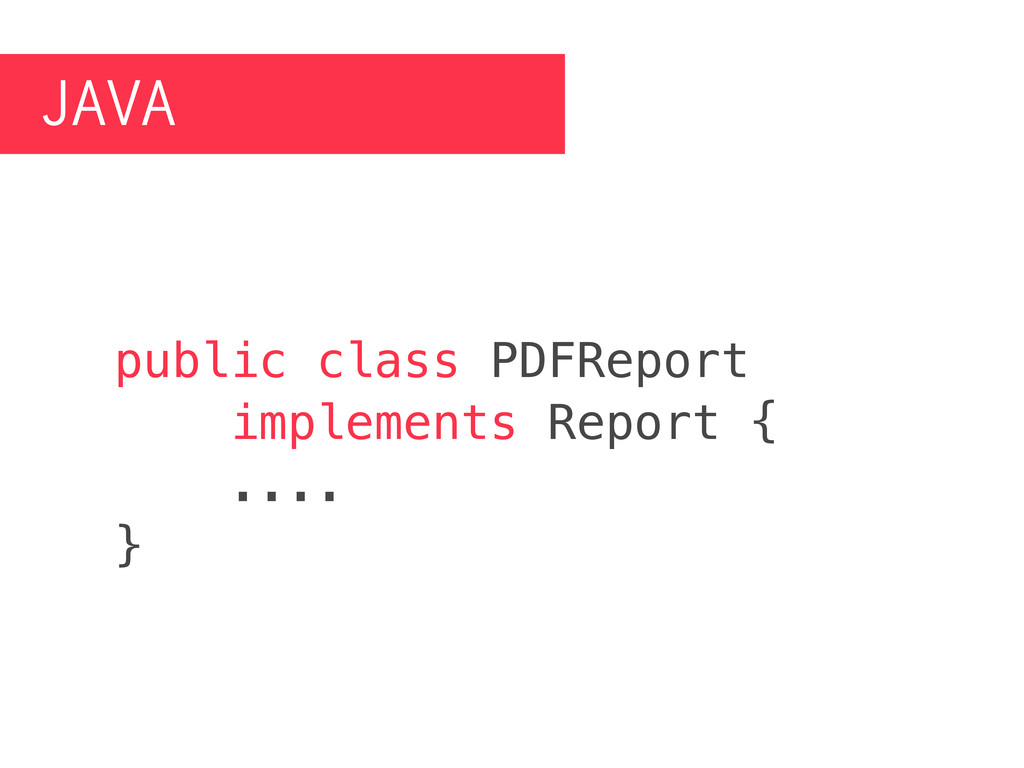 JAVA public class PDFReport implements Report {...