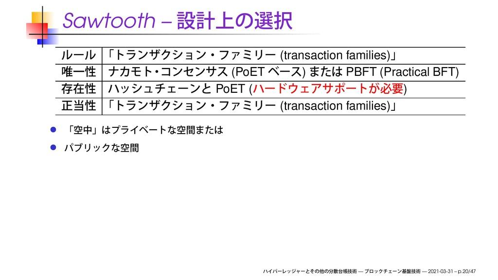 Sawtooth – (transaction families) (PoET ) PBFT ...