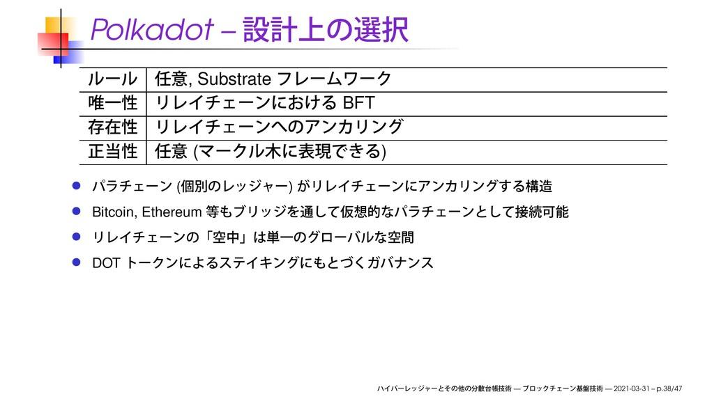Polkadot – , Substrate BFT ( ) ( ) Bitcoin, Eth...