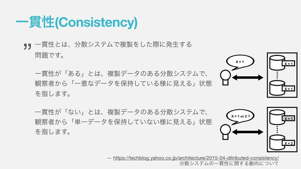 Ұ؏ੑ(Consistency) Ұ؏ੑͱɺγεςϜͰෳΛͨ͠ࡍʹൃੜ͢Δ Ͱ͢...