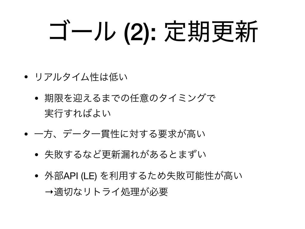 ΰʔϧ (2): ఆظߋ৽ • ϦΞϧλΠϜੑ͍  • ظݶΛܴ͑Δ·ͰͷҙͷλΠϛϯά...
