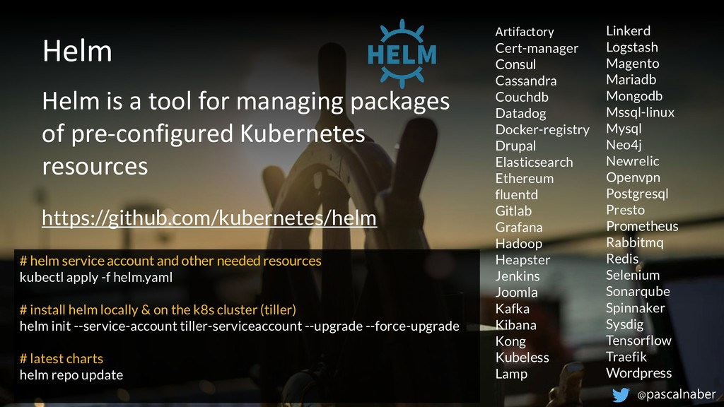 Helm Helm is a tool for managing packages of pr...