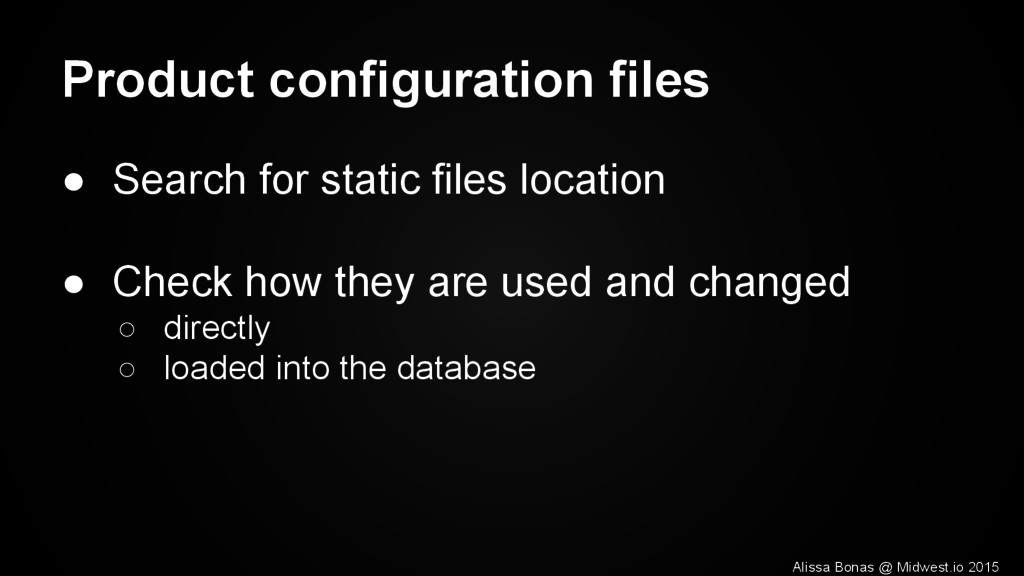 Product configuration files ● Search for static...