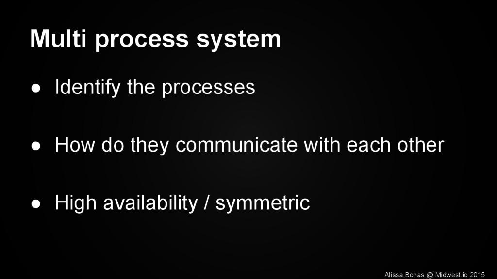 Multi process system ● Identify the processes ●...