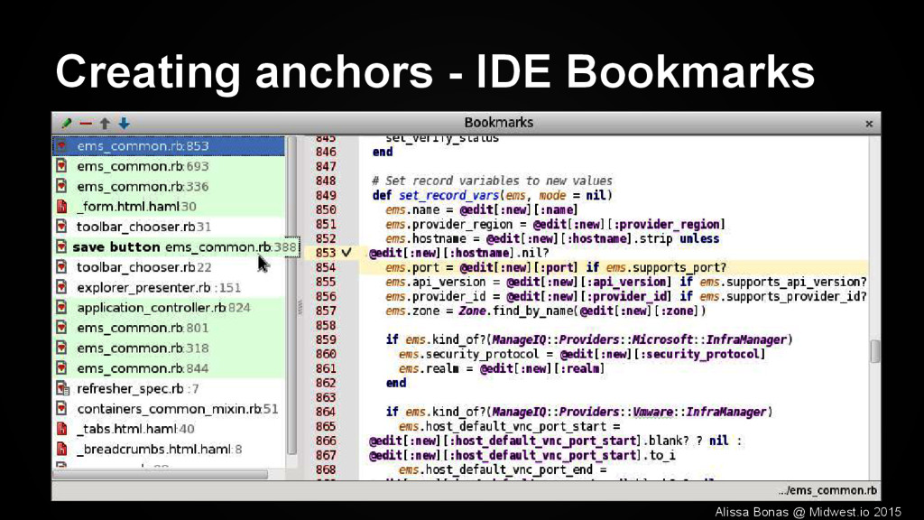 Creating anchors - IDE Bookmarks Alissa Bonas @...