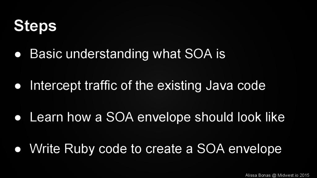 Steps ● Basic understanding what SOA is ● Inter...