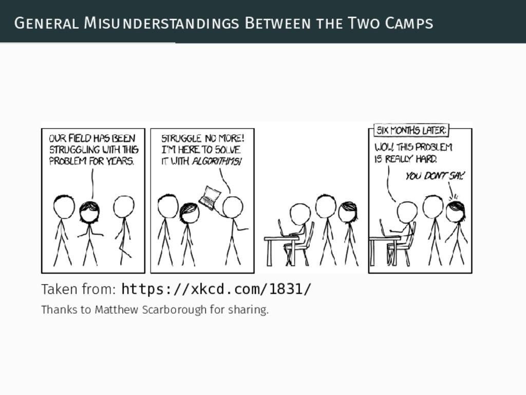 General Misunderstandings Between the Two Camps...
