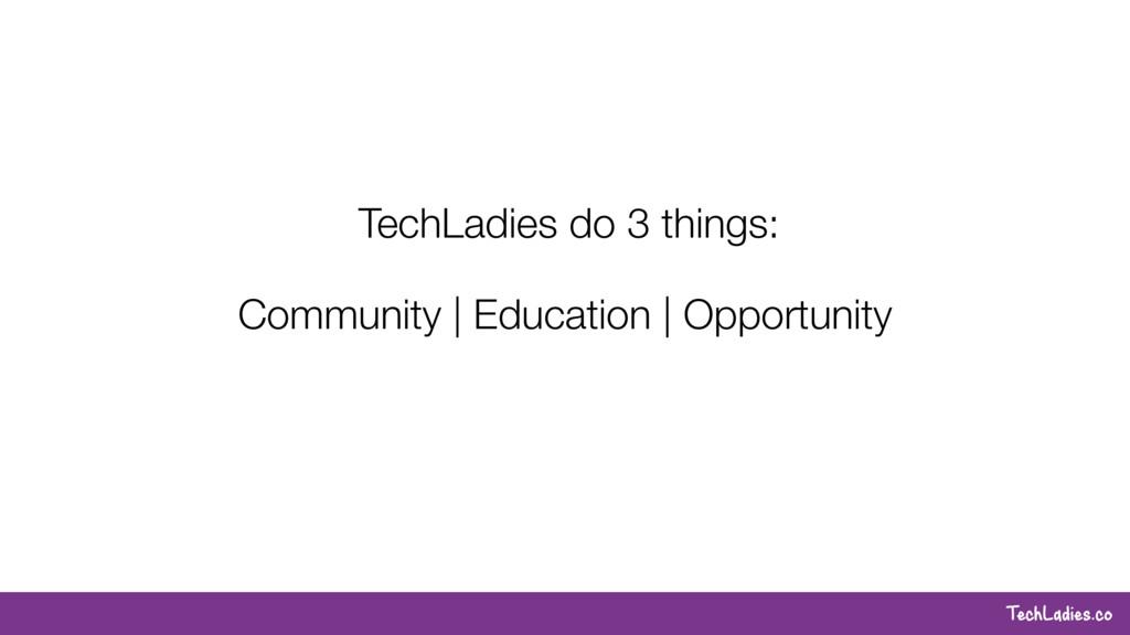 TechLadies.co TechLadies do 3 things: Community...
