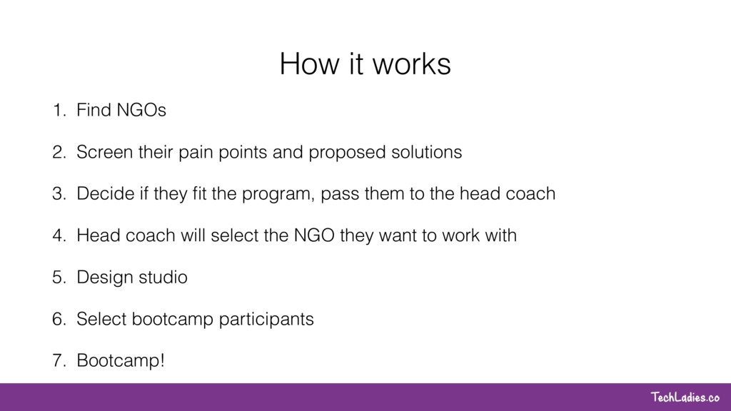 TechLadies.co How it works 1. Find NGOs 2. Scre...