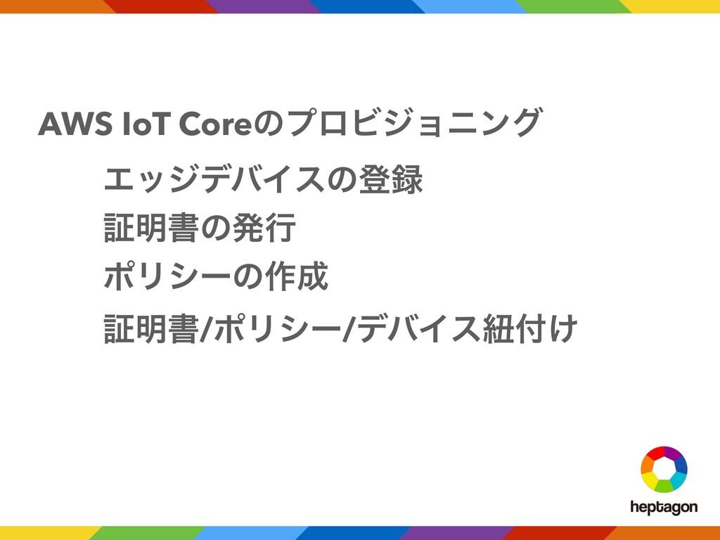 AWS IoT CoreͷϓϩϏδϣχϯά ɹɹΤοδσόΠεͷొ ɹɹূ໌ॻͷൃߦ ɹɹϙ...