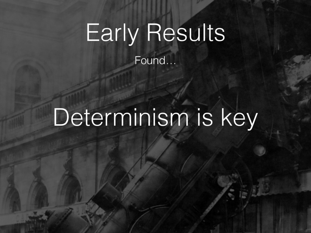 Determinism is key Early Results Found…