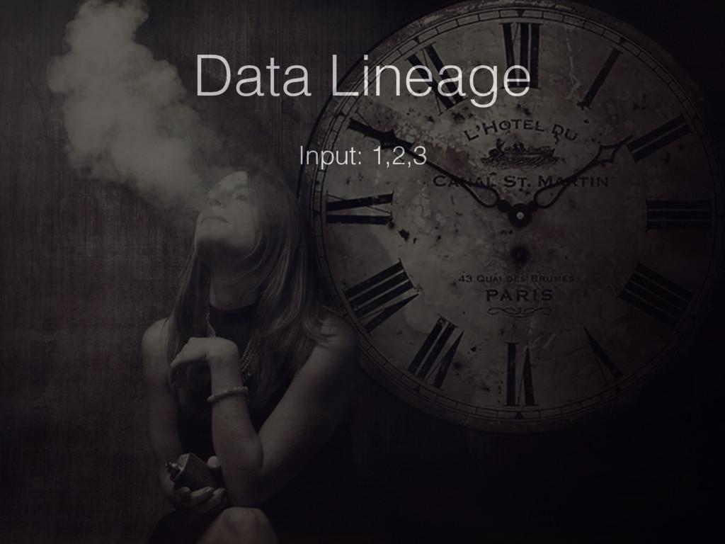 Data Lineage Input: 1,2,3