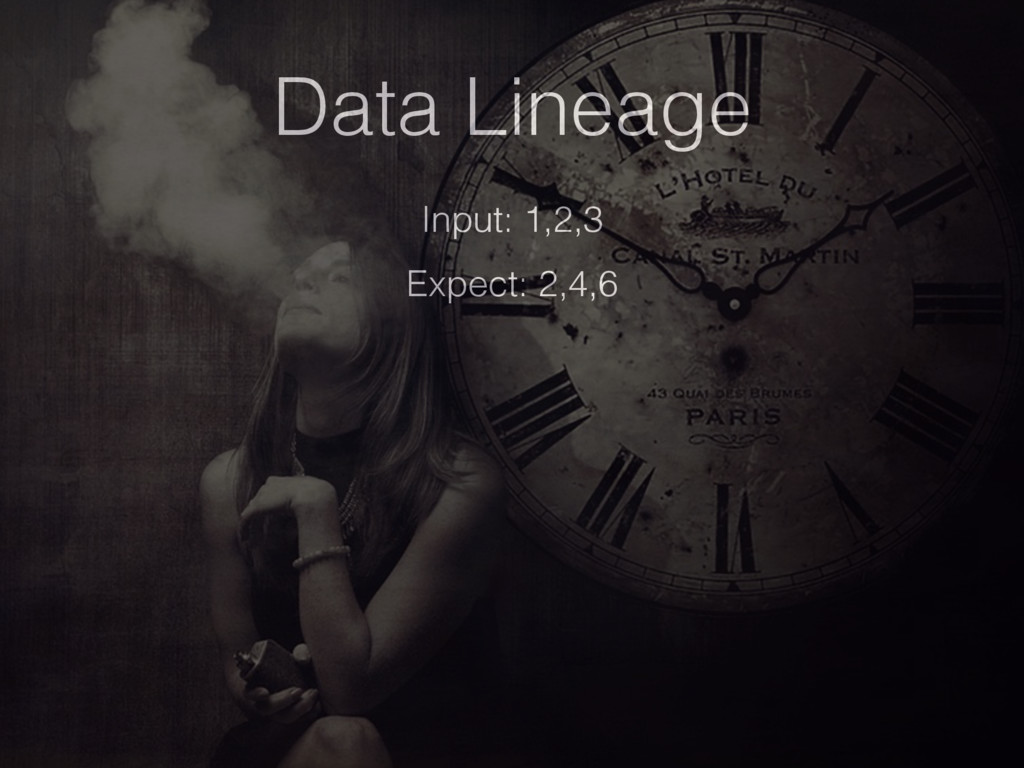 Data Lineage Input: 1,2,3 Expect: 2,4,6