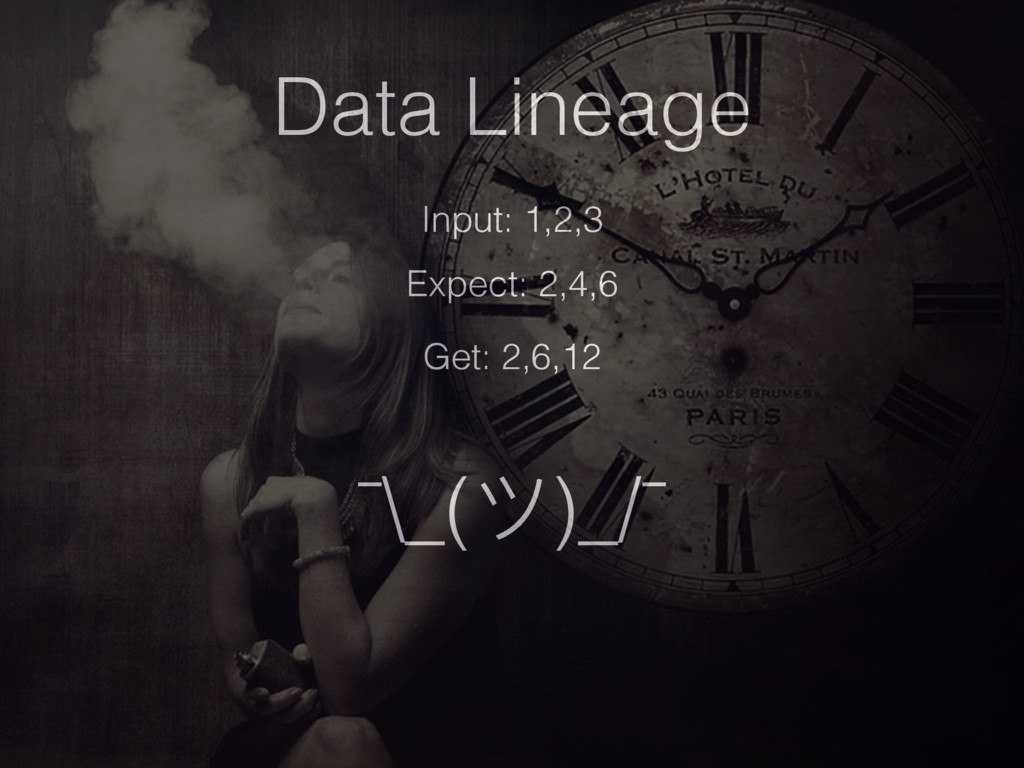 Data Lineage Input: 1,2,3 Expect: 2,4,6 Get: 2,...