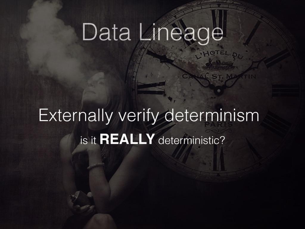 Data Lineage Externally verify determinism is i...