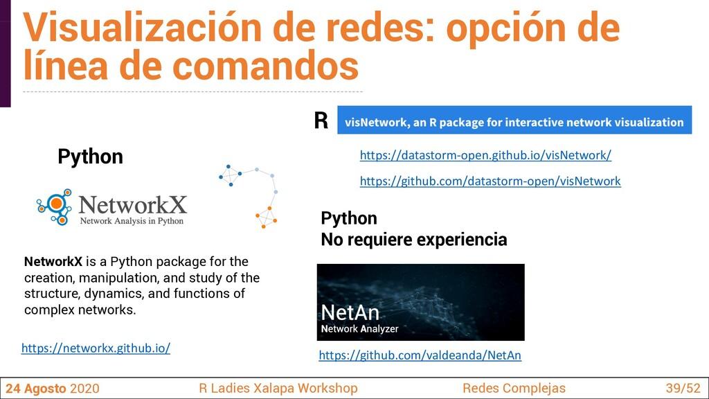 Visualización de redes: opción de línea de coma...