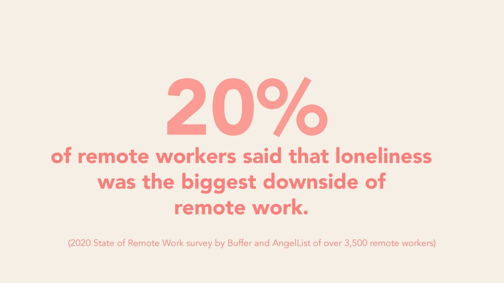of remote workers said that loneliness was the ...