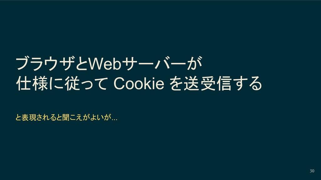 ブラウザとWebサーバーが 仕様に従って Cookie を送受信する と表現されると聞こえがよ...