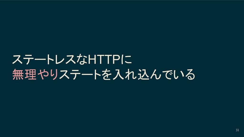 ステートレスなHTTPに 無理やりステートを入れ込んでいる 31