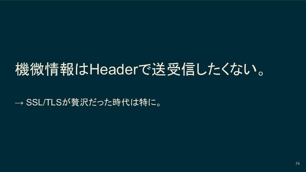 機微情報はHeaderで送受信したくない。 → SSL/TLSが贅沢だった時代は特に。 34