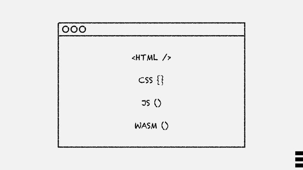 <HTML /> CSS {} JS () WASM ()