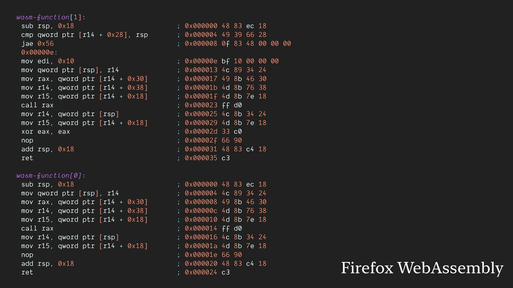 wasm-function[1]: sub rsp, 0x18 ; 0x000000 48 8...