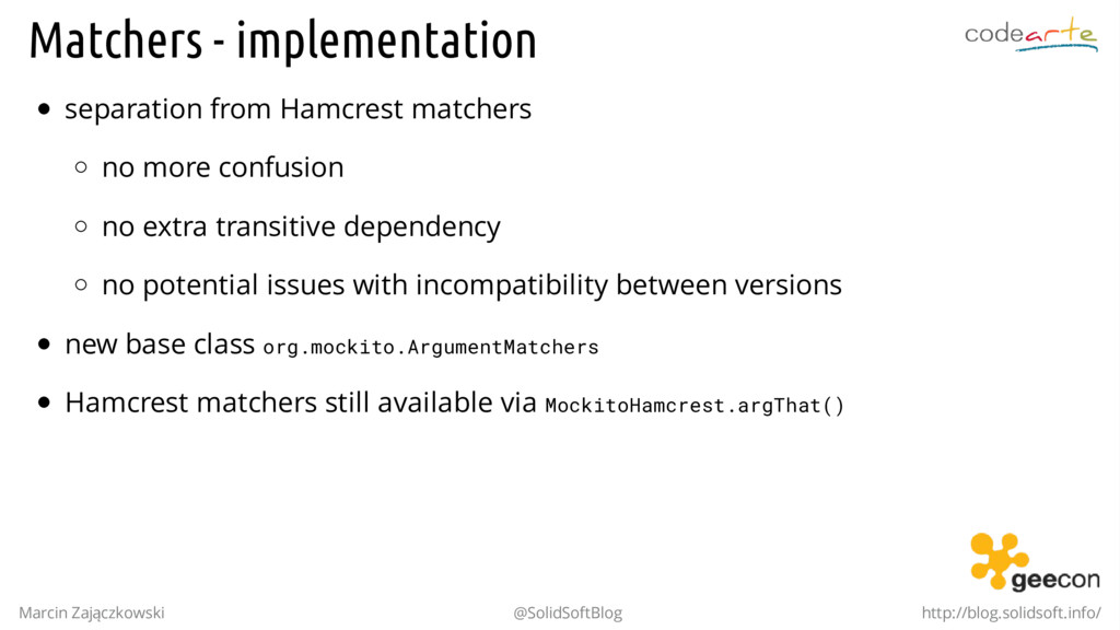 Matchers - implementation separation from Hamcr...