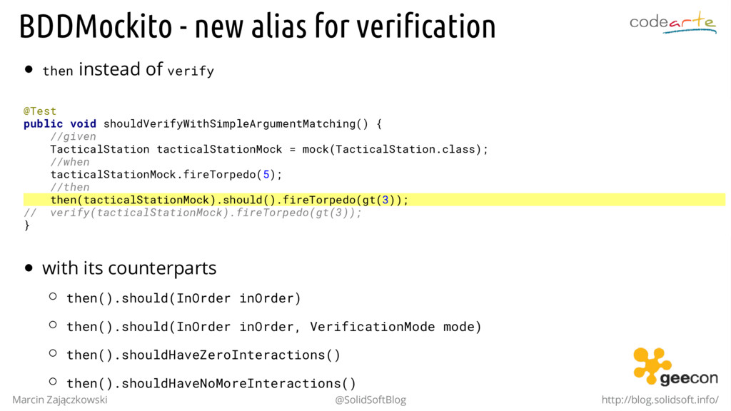 BDDMockito - new alias for verification then in...