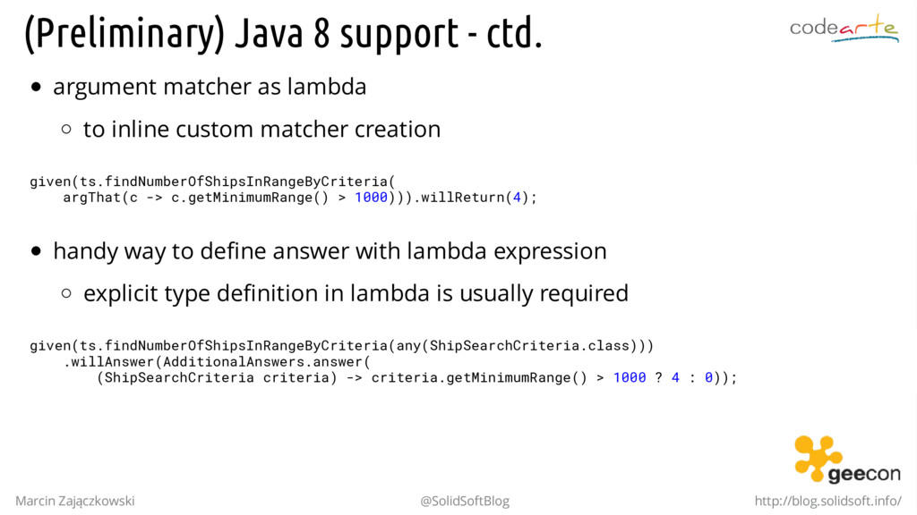 (Preliminary) Java 8 support - ctd. argument ma...