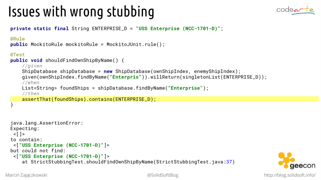 Issues with wrong stubbing private static final...