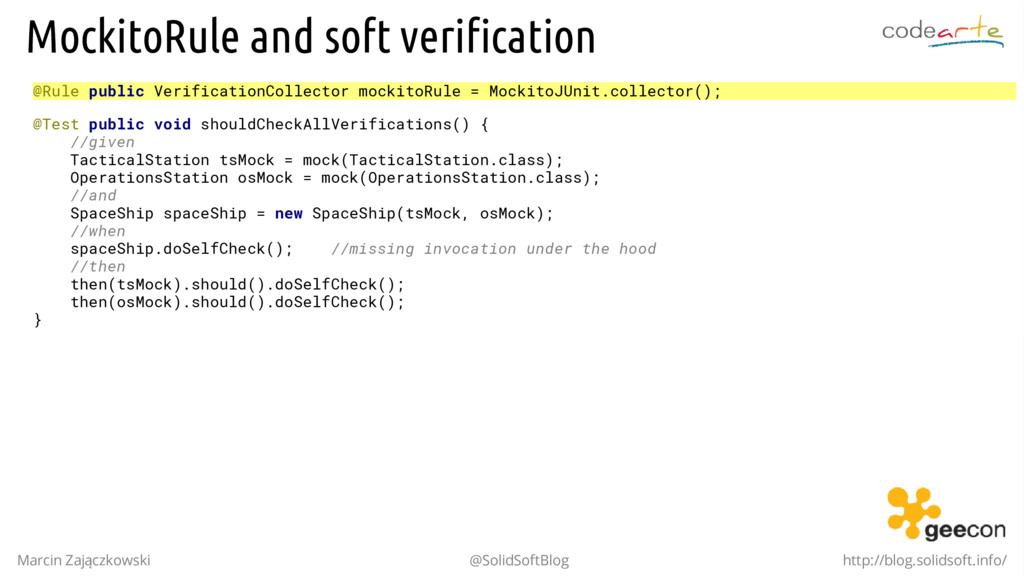 MockitoRule and soft verification @Rule public ...