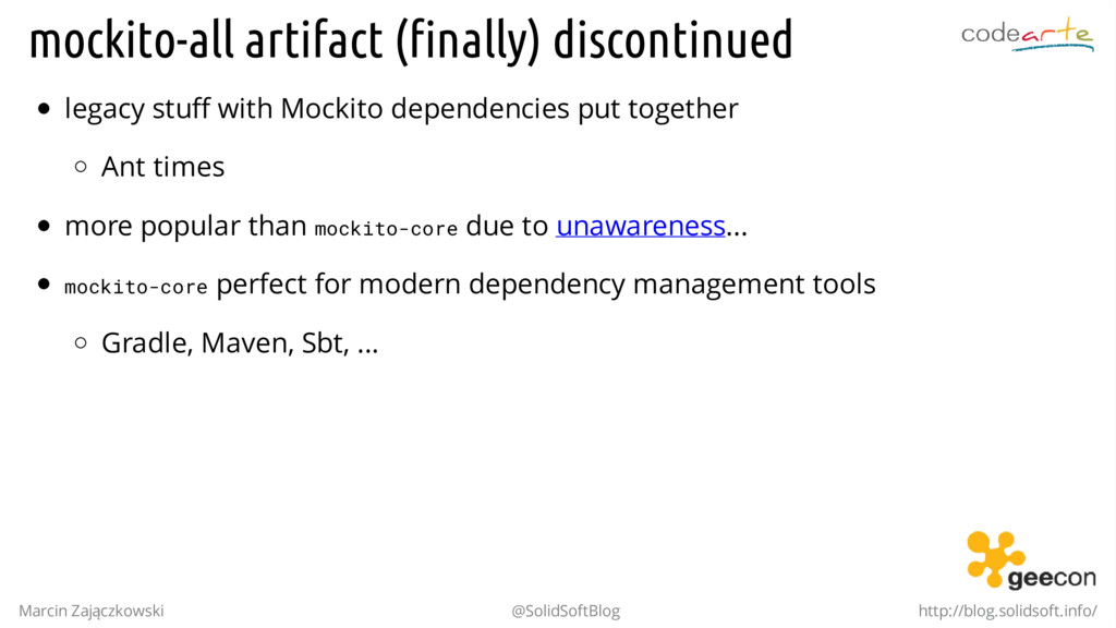 mockito-all artifact (finally) discontinued leg...