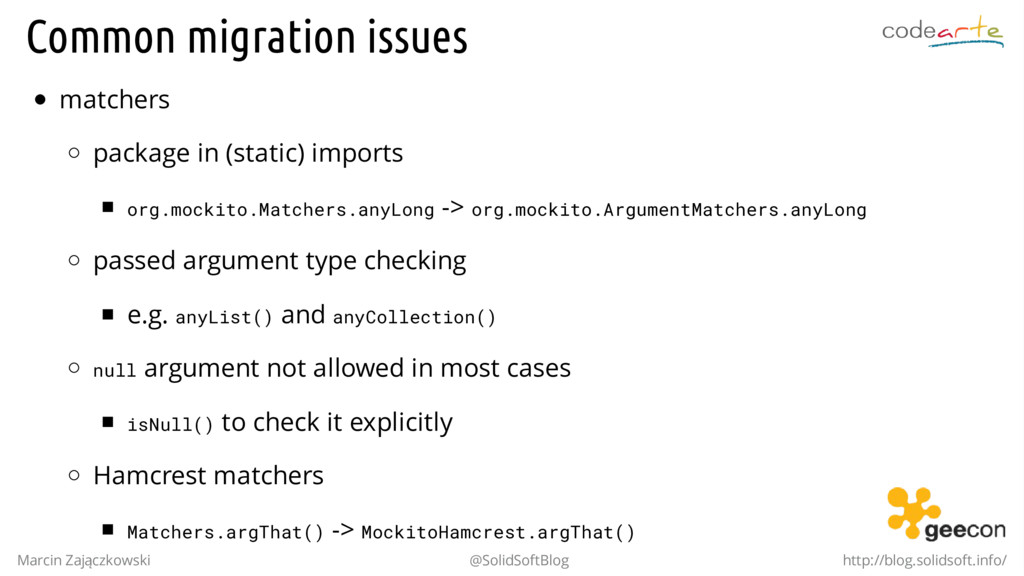 Common migration issues matchers package in (st...