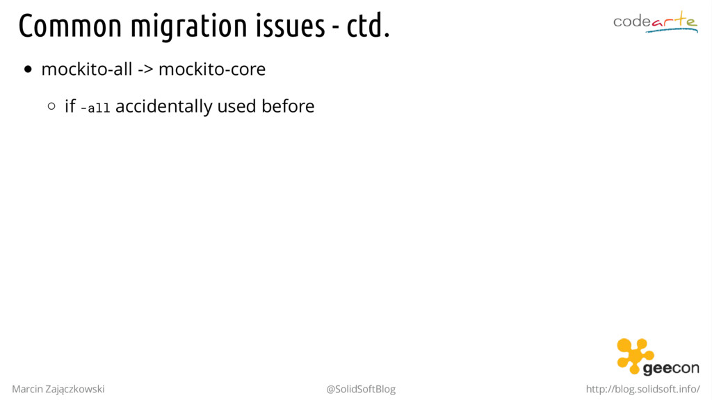 Common migration issues - ctd. mockito-all -> m...