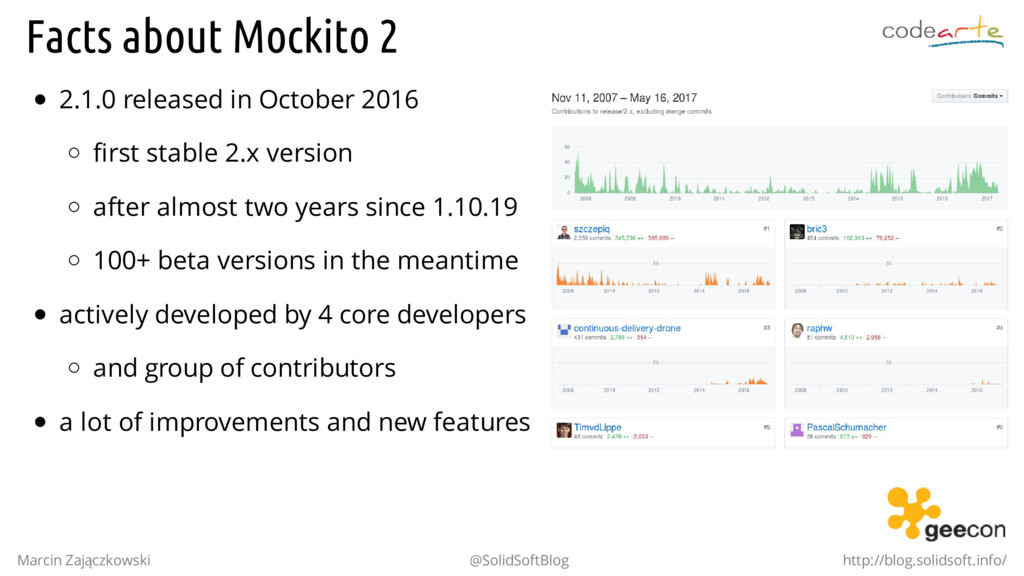 Facts about Mockito 2 2.1.0 released in October...