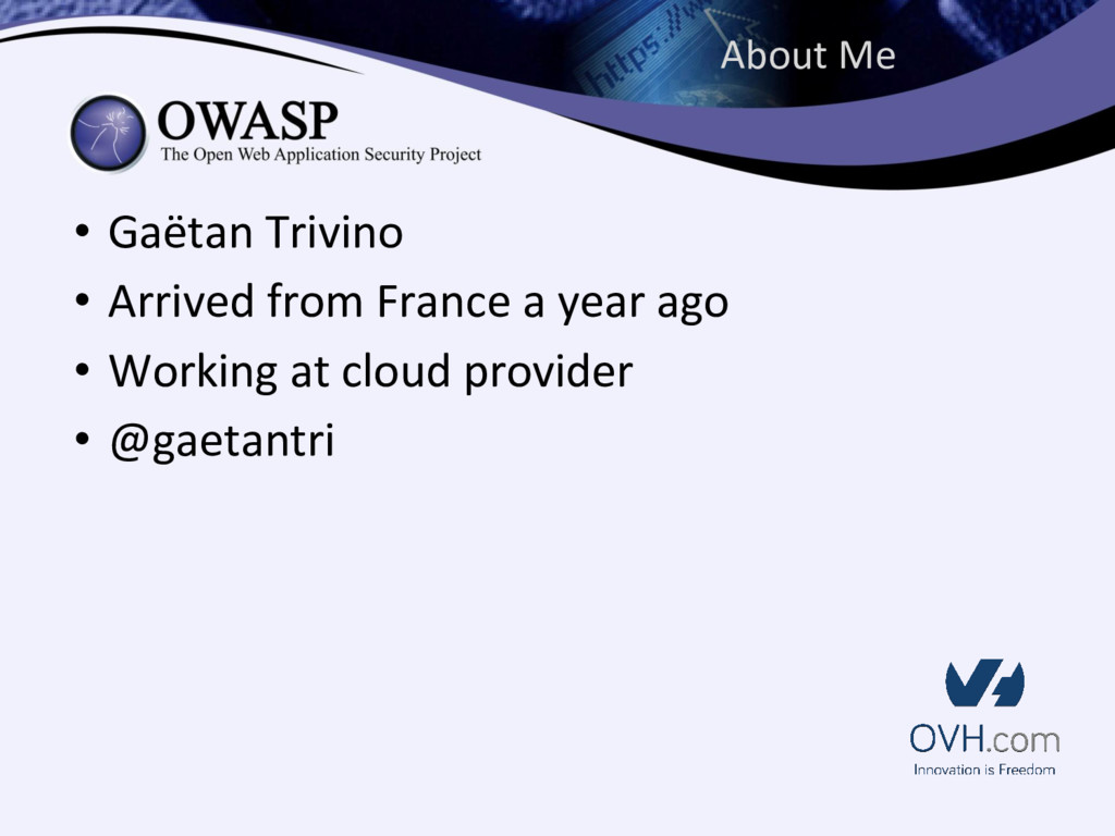 About Me • Gaëtan Trivino • Arrived from France...